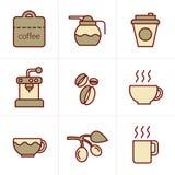 De Koffiepictogrammen van de pictogrammenstijl Stock Foto's