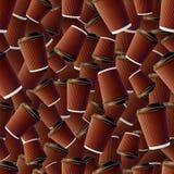De koffierimpeling vormt Naadloos Patroon tot een kom Stock Afbeelding
