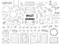 De kogel van de notitieboekjekrabbel Hand getrokken agendakader, grenzen van de dagboek de lineaire lijst en elementen De vectoro vector illustratie