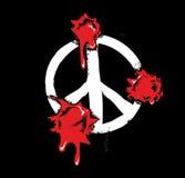 De kogelgaten met bloed ploetert op vredesteken Vlakke illustratie op zwarte achtergrond Stock Foto's