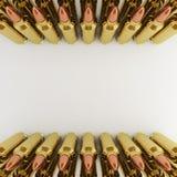 De Kogels van het geweer in rijen Royalty-vrije Stock Fotografie