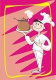 De kok biedt heet aan Stock Illustratie