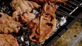 De kok legt het lamslapje vlees met een metaaltang stock footage