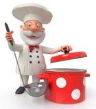 De kok met een pan en een gietlepel Royalty-vrije Stock Afbeeldingen
