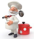 De kok met een pan en een gietlepel Stock Foto
