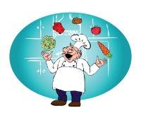 De kok met het jongleren met met groenten Stock Foto