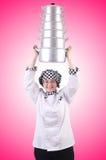 De kok met stapel potten op wit Royalty-vrije Stock Foto