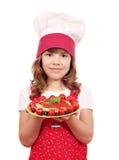 De kok van het meisje met spaghetti Stock Foto