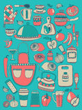 De kokende elementen van de Krabbelstijl stock illustratie
