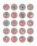 De kokende elementen van de Krabbelstijl royalty-vrije illustratie