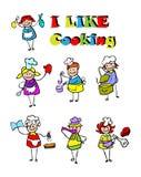 De kokende geplaatste pictogrammen van het beeldverhaal, voedsel Stock Foto's
