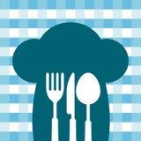De kokende het dineren illustratie van de chef-kokhoed Royalty-vrije Stock Afbeeldingen
