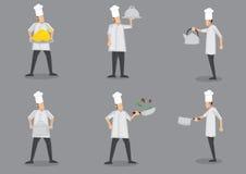 De kokende Illustratie van Chef-kokcartoon characters vector Royalty-vrije Stock Foto's