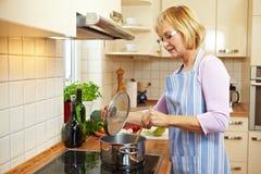 De kokende soep van de huisvrouw stock foto's