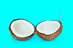 De kokosnoot is verdeeld in twee delen Stock Foto