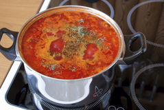 De koks van de soep op een elektrische plaat Stock Foto's