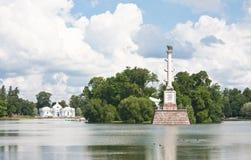 De Kolom en het Paviljoen van Chesme. St. Petersburg, Rusland Stock Afbeelding