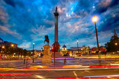 De kolom van de zonsondergangnelson van Londen Trafalgar Square Stock Foto's