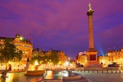 De kolom van de zonsondergangnelson van Londen Trafalgar Square Royalty-vrije Stock Afbeeldingen