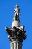 De Kolom van Nelson s in Trafalgar Square  Stock Foto