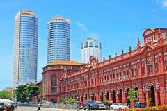 De koloniale Bouw en World Trade Center, Sri Lanka Colombo stock afbeelding