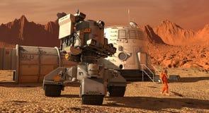 De kolonie van Mars Expeditie op vreemde planeet Het leven op Mars 3D Illustratie vector illustratie