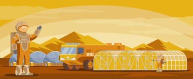 De Kolonisatie Futuristisch Malplaatje van Mars vector illustratie