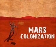 De kolonisatie van Mars Astronaut op de planeet vector illustratie