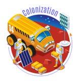 De kolonisatie van Mars op ge?soleerde achtergrond royalty-vrije illustratie