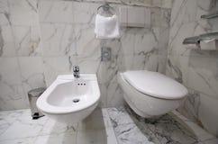 De kom en het bidet van het toilet Royalty-vrije Stock Afbeelding