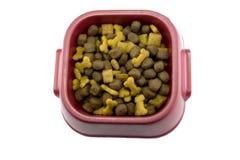 De kom van Dogfood op wit Stock Fotografie