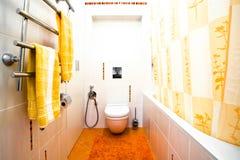 De kom van het toilet in badkamers stock foto