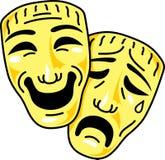 De komedie en de tragediemaskers van het theater Stock Afbeeldingen