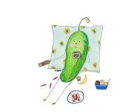 De komkommer let op TV, eet en drinkt koffie Stock Foto