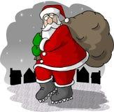 De Komst van de kerstman aan Stad Stock Foto