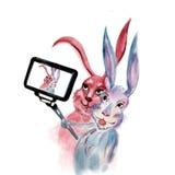 De konijnen nemen selfie Royalty-vrije Stock Afbeeldingen
