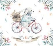 De konijntjes van het de waterverfbeeldverhaal van Pasen van de handtekening met bladeren, zemelen vector illustratie