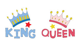 De koning en de koningin de hand van de paarkroon voor T-shirt wordt getrokken koppelt of verfraait vector die Royalty-vrije Stock Fotografie