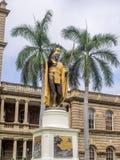 De koning Kamehameha I Standbeeld, Ali iolani sleept Royalty-vrije Stock Fotografie