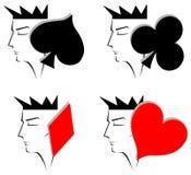 De koning met kostuums van de kaarten ziet inzameling onder ogen Royalty-vrije Stock Afbeeldingen