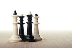 De koningen en de koninginnen van het schaak Stock Fotografie