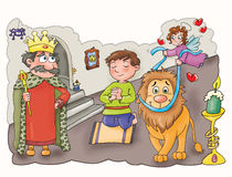 De koningen, in het kasteel met een leeuw, Royalty-vrije Stock Fotografie