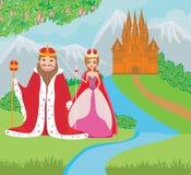 De koningin en de koning zijn voor het kasteel Stock Fotografie