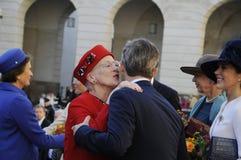 DE KONINGIN MARGRETHE EN ROYALS KOMT BIJ HET PARLEMENT AAN Royalty-vrije Stock Fotografie