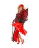 De Koningin van de portretbelemmering in Vrouwen het Rode Kleding Presteren Stock Foto's