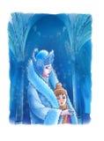 De koningin van de Sneeuw en de jongen Stock Afbeeldingen