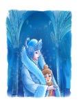 De koningin van de Sneeuw en de jongen Stock Fotografie