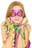 De Koningin van Gras van Mardi in Masker stock fotografie