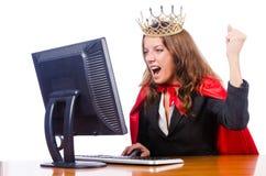 De koningin van het bureau op wit Stock Foto's