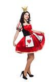 De koningin van spades Creatieve jonge dame in zwarte Stock Foto
